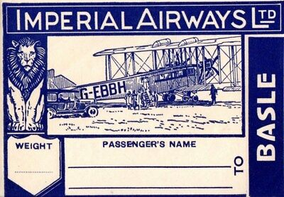 Imperial Airways Basle  Baggage Label Stickers  United Kingdom Basle