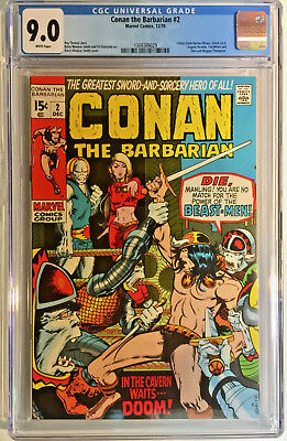 Conan The Barbarian #2 Cgc 9.0 Marvel 1970 Bronze Age Barry Smith Roy Thomas