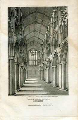 Inglaterra. Choir of Hexham Church grabado por R.Roffe, dibujó W. Brown
