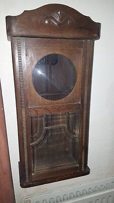 Vintage oak clock case with domed and chamfered glass front and chime bars.