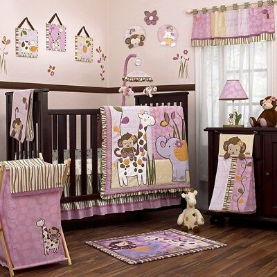 New Cocalo Jacana Pink S Nursery Crib 7 Pieces Set Comforterperskirtsheet
