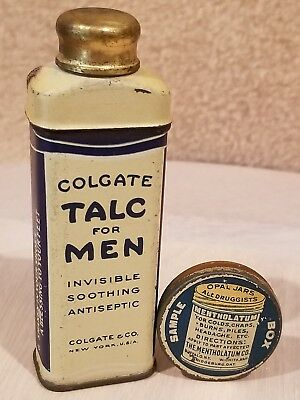 Vintage Toiletries & Remedies Tin Colgate Talc for Men & Sample Box Mentholatum