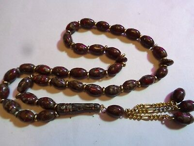 Antique Red with Gray Stone Agate ?  Beaded  Prayer Beads