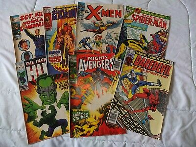 Silver Age Comic Book Lot of 7 - X-Men, The Mighty Avengers, Spiderman, Hulk ++