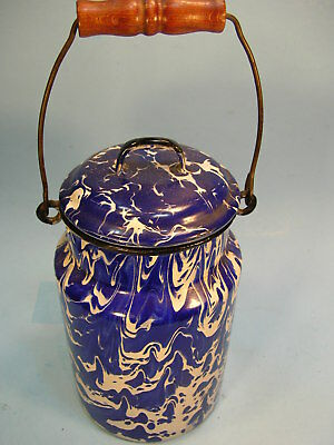 Antique Navy Blue /White SWIRL GRANITEWARE  CREAM CAN w/ LID & BAIL