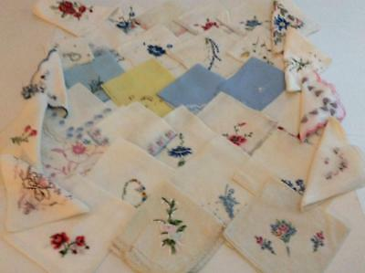 Vintage Lot of 34 Hankies Handkerchiefs Mostly Embroidered Flowers