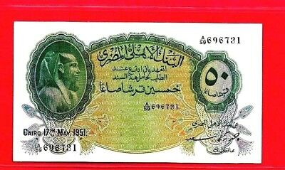 EGYPT 1951 50 PIASTER BILL SIGN BY AHMED ZAKI S  696731 A/59  unc.