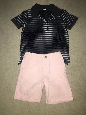 Lot Boys JANIE & JACK Dress Shorts & Polo Shirt Sz 4-5
