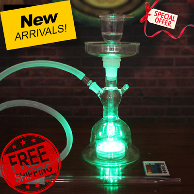 BEST QUALITY Hookah Shisha LED Light Tobacco Water Pipe with Lights Remote NEW