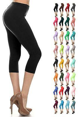 Womens Capri 3/4 Leggings Ladies Three Quarter Jersey Gym Fitness Workout Pants