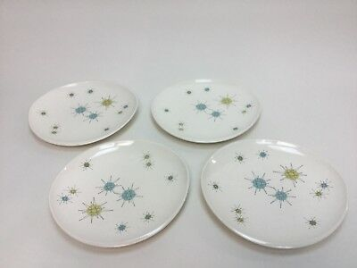 "Set Of 4 Vintage Franciscan Starburst Atomic Dinner Plates 10 3/4"" Mid Century"