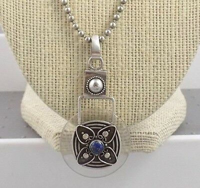 Vintage Art Deco Sterling & Clear Lucite & Blue Lapis Pendant on Ball Chain