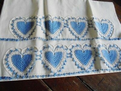 Antique K Unused Crochet Blue Hearts Pillow Cases 35X21 Gorgeous
