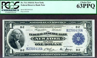HGR SATURDAY 1918 $1 New York GREEN EAGLE ((STUNNING)) PCGS CHOICE NEW 64PPQ