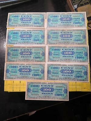 France Allied Military Currency 100 Francs Block # Set Wwii Banknote Collection