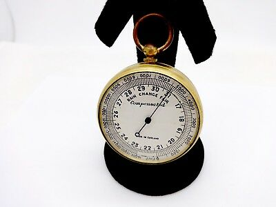 Antique English Gentleman's Traveling Pocket Compensated Barometer Altimeter Nr