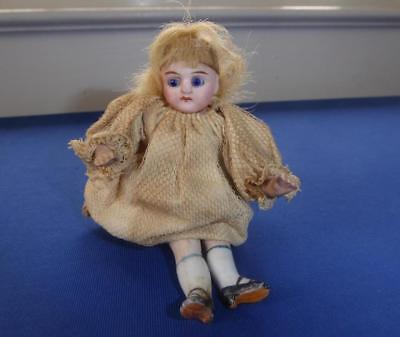 Antique All Bisque Jointed Glass Eyes Mignotte Pocket Doll German Or French 4""