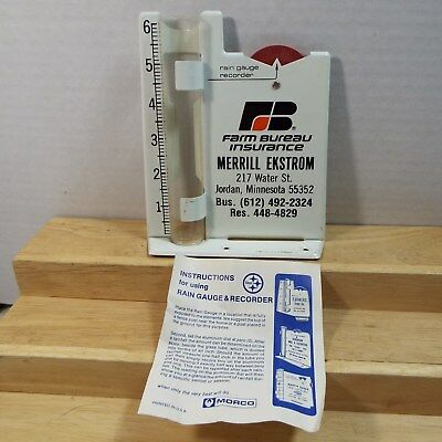 Vintage FARM BUREAU INSURANCE Metal Rain Gauge Recorder Advertising Merrill Ekst
