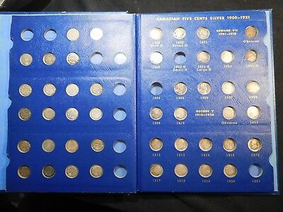 Z125 Canada 1858-1921 5 Cents Old Blue Whitman Coin Book Almost Complete