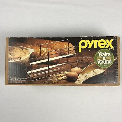 Vintage Corning Pyrex Bake Round Glass Bread Tube And Rack New j18