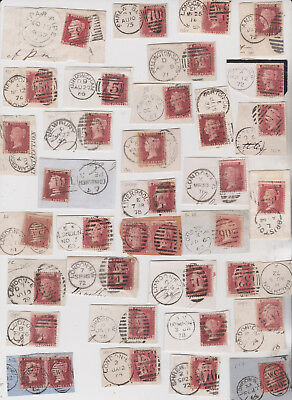 1857-79 QV 34 CORNER PIECES WITH 1d PENNY RED STAMPS & POSTMARKS CHECK PLATING