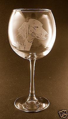 New! Etched Saluki on Large Elegant Wine Glasses - Set of 2
