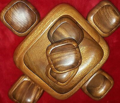 "Vintage 8 Piece Retro Hardwood Teak Square Salad Bowl Set Lg Bowl 11"" Sm  5"""
