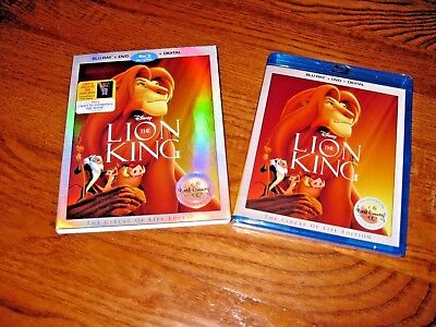 The Lion King (Blu-Ray+ DVD+Digital HD, 2017) Disney Signature w/ Film Cell! New