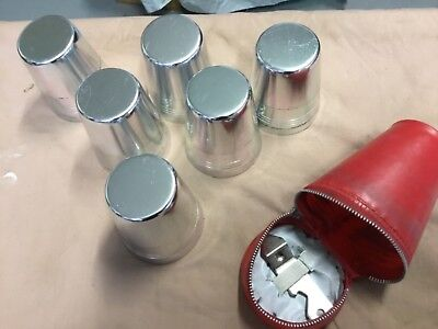 silver aluminium cups beakers with original plastic case and can opener