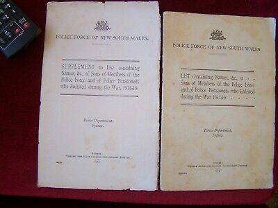 Rare, WW1 Book & supplement, sons Of Australian police officers  who enlisted.