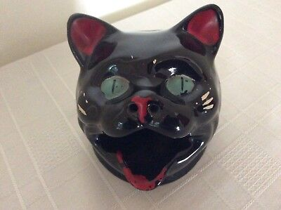 Vintage Wembley Ware  Black Cat Ashtray - Known As  'the Smoking Cat'.