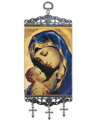 Madonna and Child Tapestry Icon Banner With 3 Byzantine Three Bar Crosses 9 3/4""