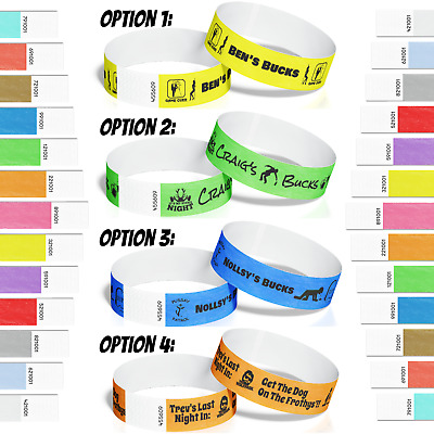 20 Bucks Stag Bachelor Party Tyvek Paper Event ID Wristbands Custom Print *SALE*
