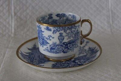 Early George Jones 5913 Impressed Crescent Mark Blue & White Willow Cup & Saucer