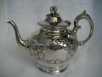 VICTORIAN SILVER PLATED TEAPOT - J Round & Sons, Sheffield.