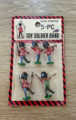 Vintage Craft Miniature Hand Painted Plastic Toy Soldier Band Hong Kong