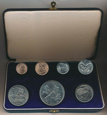 New Zealand 1969 Proof (Polished) Set Captain Cook in Official Plush Case Scarce
