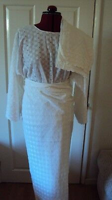 "African Women White ""Iro"" (Wrap) & ""Buba"" (Blouse) & Scarf  3 Piece - UK 12-14 M"