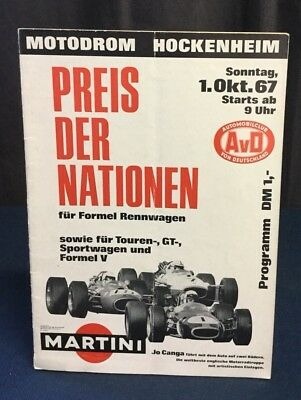 Rare Programme 1967 GRAND PRIX HOCKENHEIM PREIS DER NATIONEN COUPE DES NATIONS