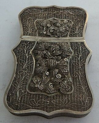 ANTIQUE CHINESE EXPORT SILVER FILIGREE CARD CASE  by YKC  c.1880