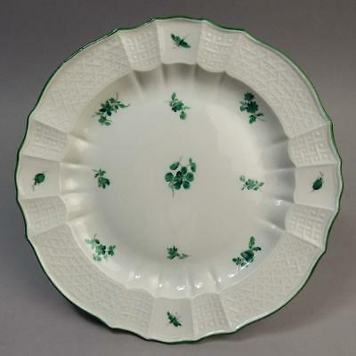 ANTIQUE MEISSEN PORCELAIN GREEN & WHITE FLORAL CABINET PLATE 19th CENTURY