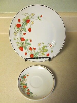 "Avon Porcelain Hand-Decorate Strawberry 7 1/2"" Plate 22K Gold Trim 1978 & Saucer"
