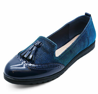 Ladies Smart Blue Slip-On Loafers Casual Work Tassle Comfy Flat Shoes Sizes 3-8