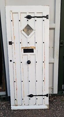 Reclaimed Solid wood front door studs bullseye Country cottage farmhouse Rustic