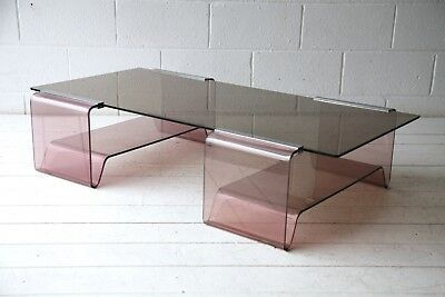 Rare 1970s Vintage Retro Glass & Plexiglass Coffee Table by Michel Dumas