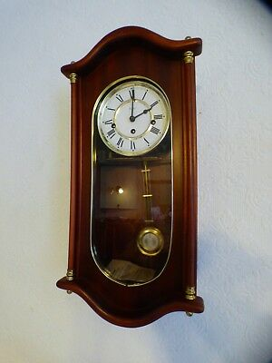 A Nice Mahogany 8 Day Woodford Hermle Westminster Chime Wall Clock *servcied*