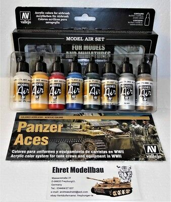 Farbset Basis Farben  Airbrush Color Set 8 Farben Vallejo Model Air 71174 Neu