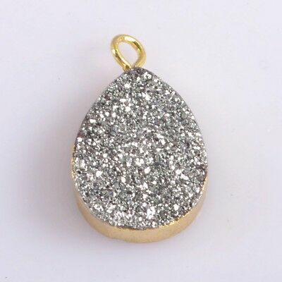 16x12mm Drop Natural Agate Titanium Druzy Charm One Bail Gold Plated H115112