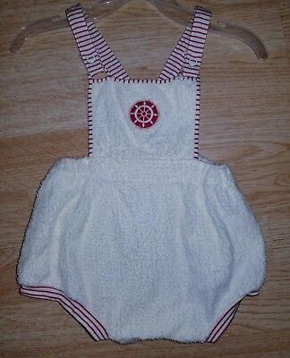 Vintage Carter's 12-18 months romper white red nautical one piece 12 18