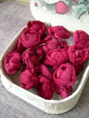 Collection 26 vintage French tiny red roses for doll projects etc.